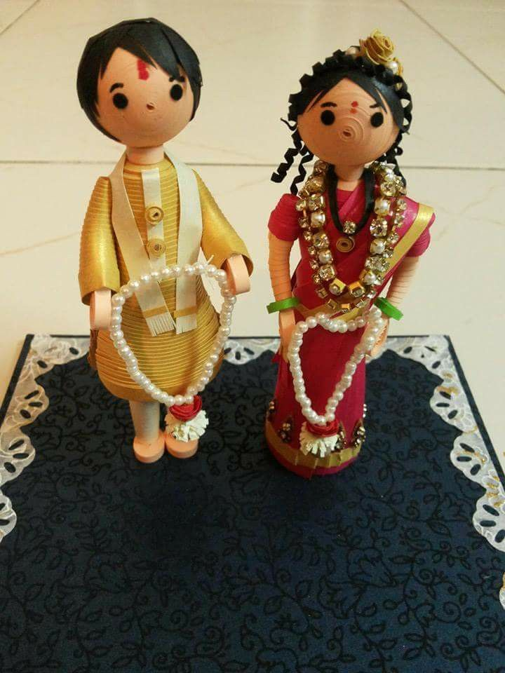 fab85801e Quilled Indian Bride and Groom by Rajashree Honrao Quilling Dolls, Paper  Quilling Flowers, Quilling