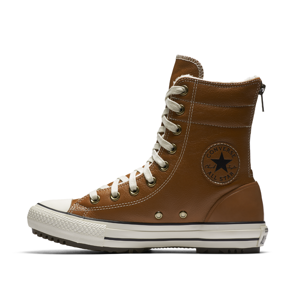 9132ded8e7 Converse Chuck Taylor All Star Leather And Faux Fur High Rise Women s Boot  Size 7 (Brown) - Clearance Sale