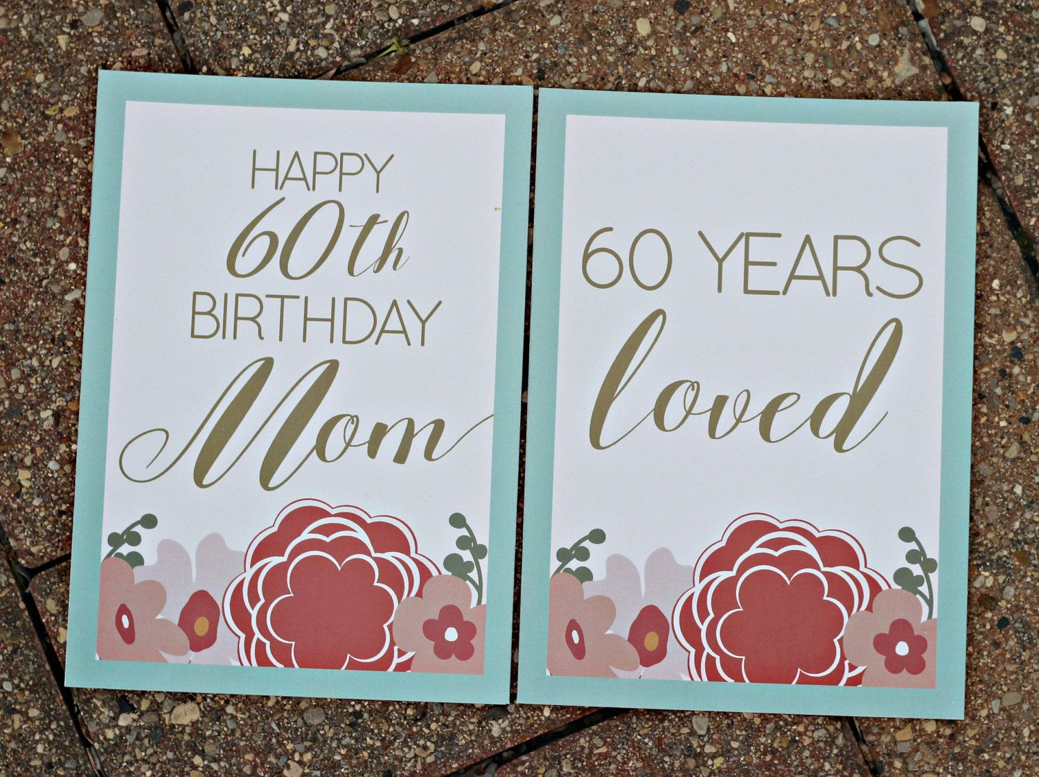 ladies birthday party signs two 5x7 professionally printed coral