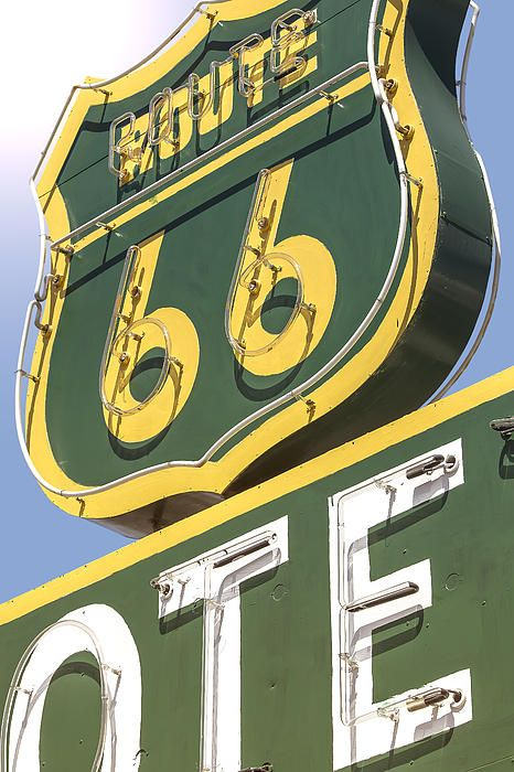 Route 66 - Route 66 Motel Vintage Neon Sign In Barstow California ...
