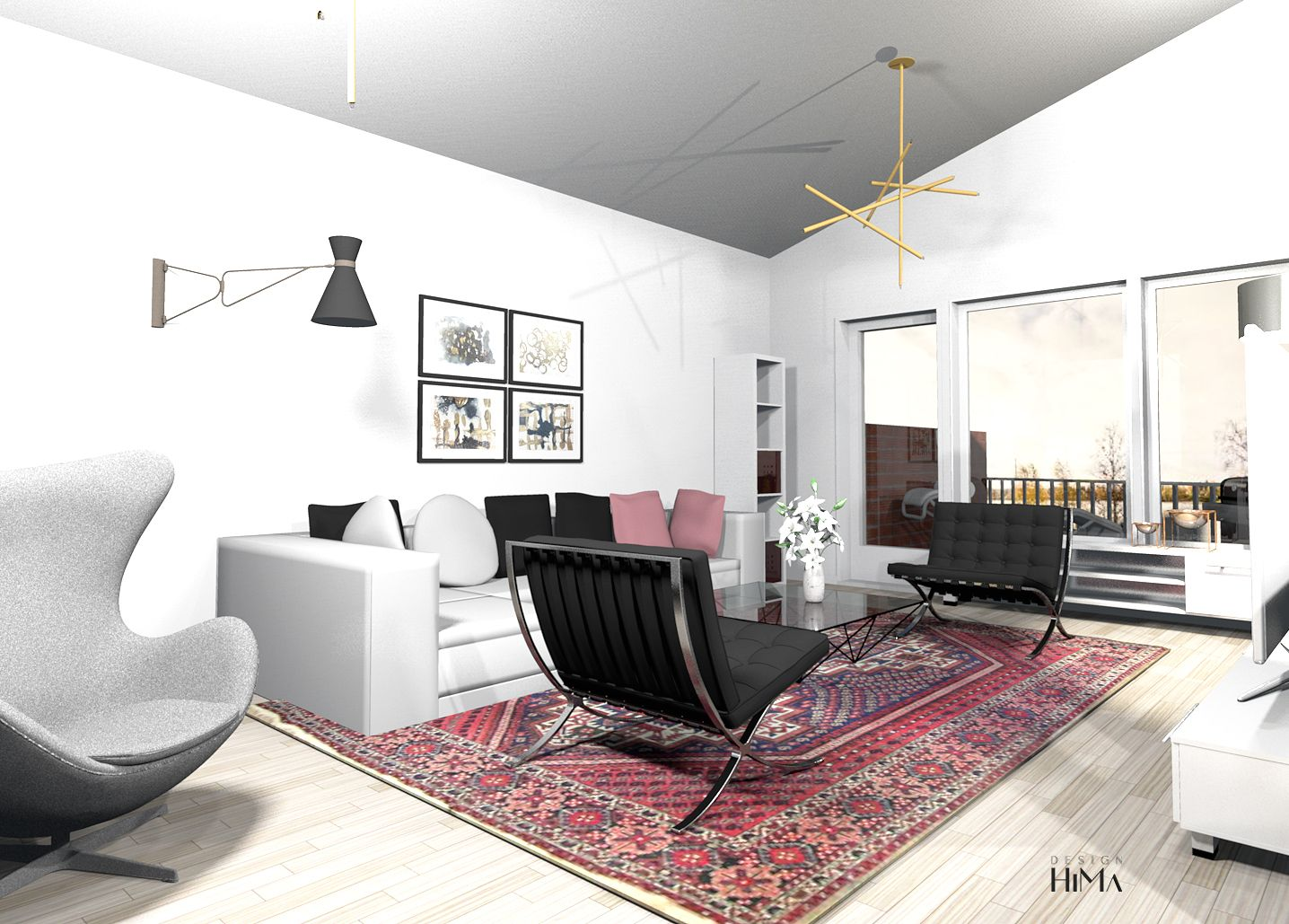 3D, Living Room, Egg Chair, Barcelona Chairs, Oriental Rug, Itämainen Matto