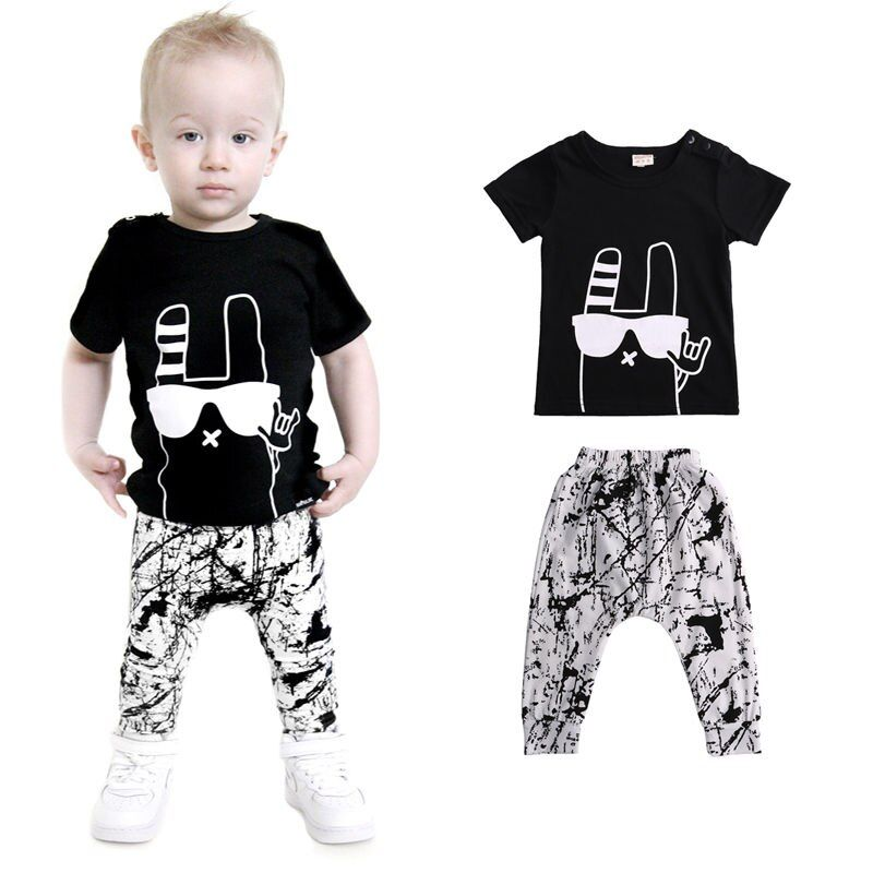 Black Newborn Baby Boys Outfits Short Sleeve T-shirt Tops+Pants Clothes Set