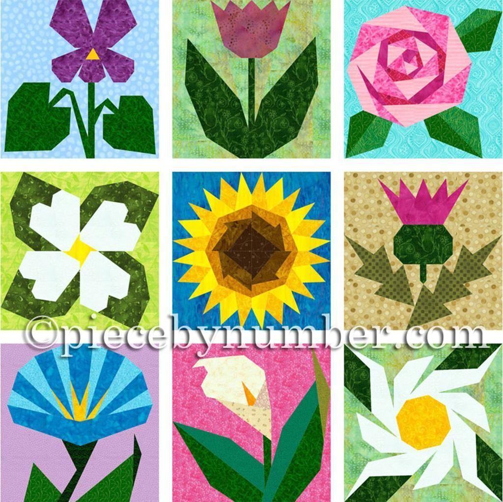 Gaeas Garden 9 Paper Pieced Flowers Flower Paper Piecing And