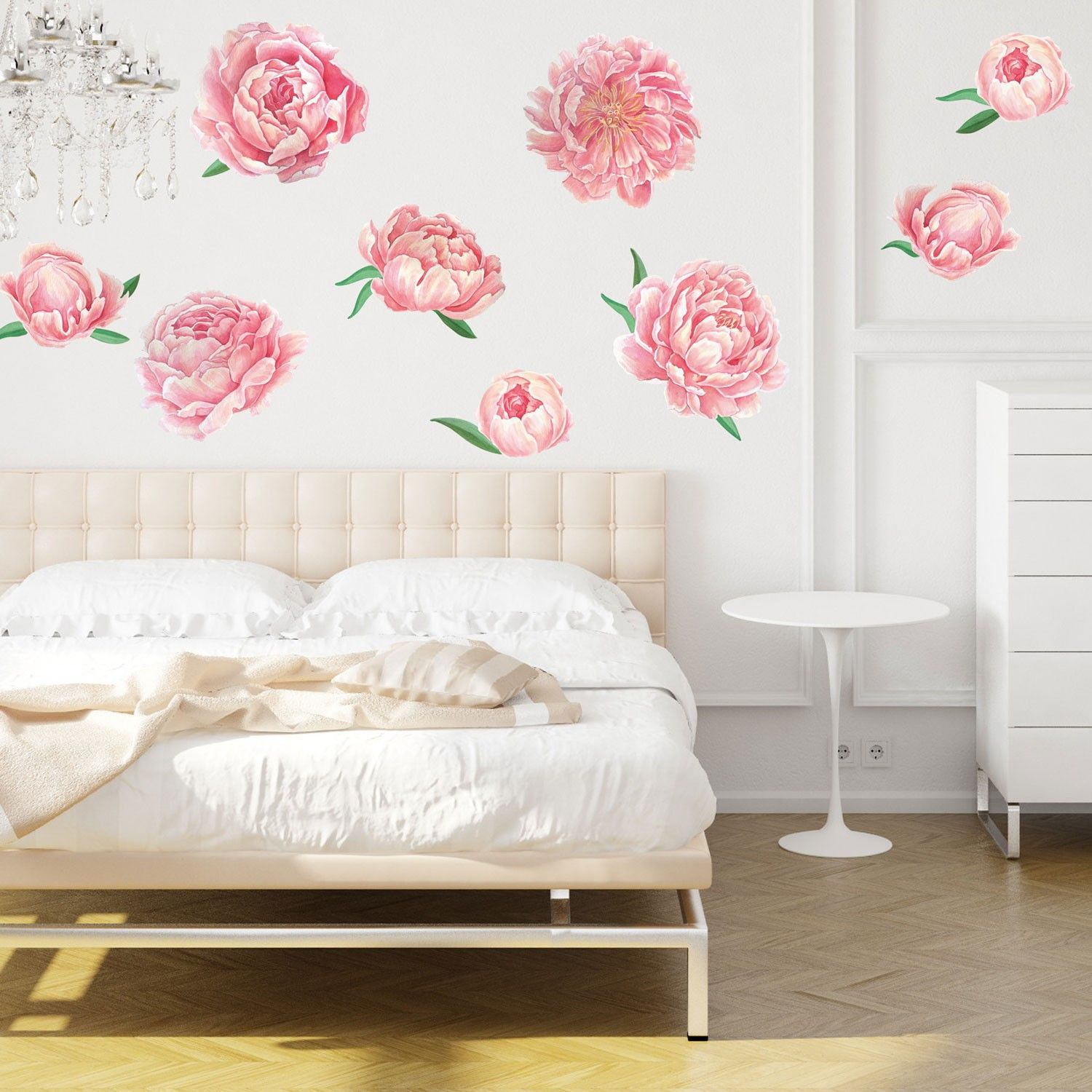 Pretty Pink Peonies Flower Watercolor Wall Decal Sticker Kit