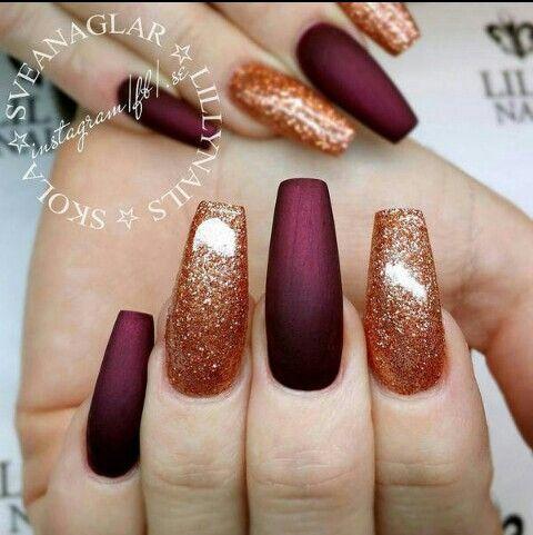Matte Burgundy And Copper Glitter Nails Copper Nails Designs Burgundy Nails Fall Acrylic Nails