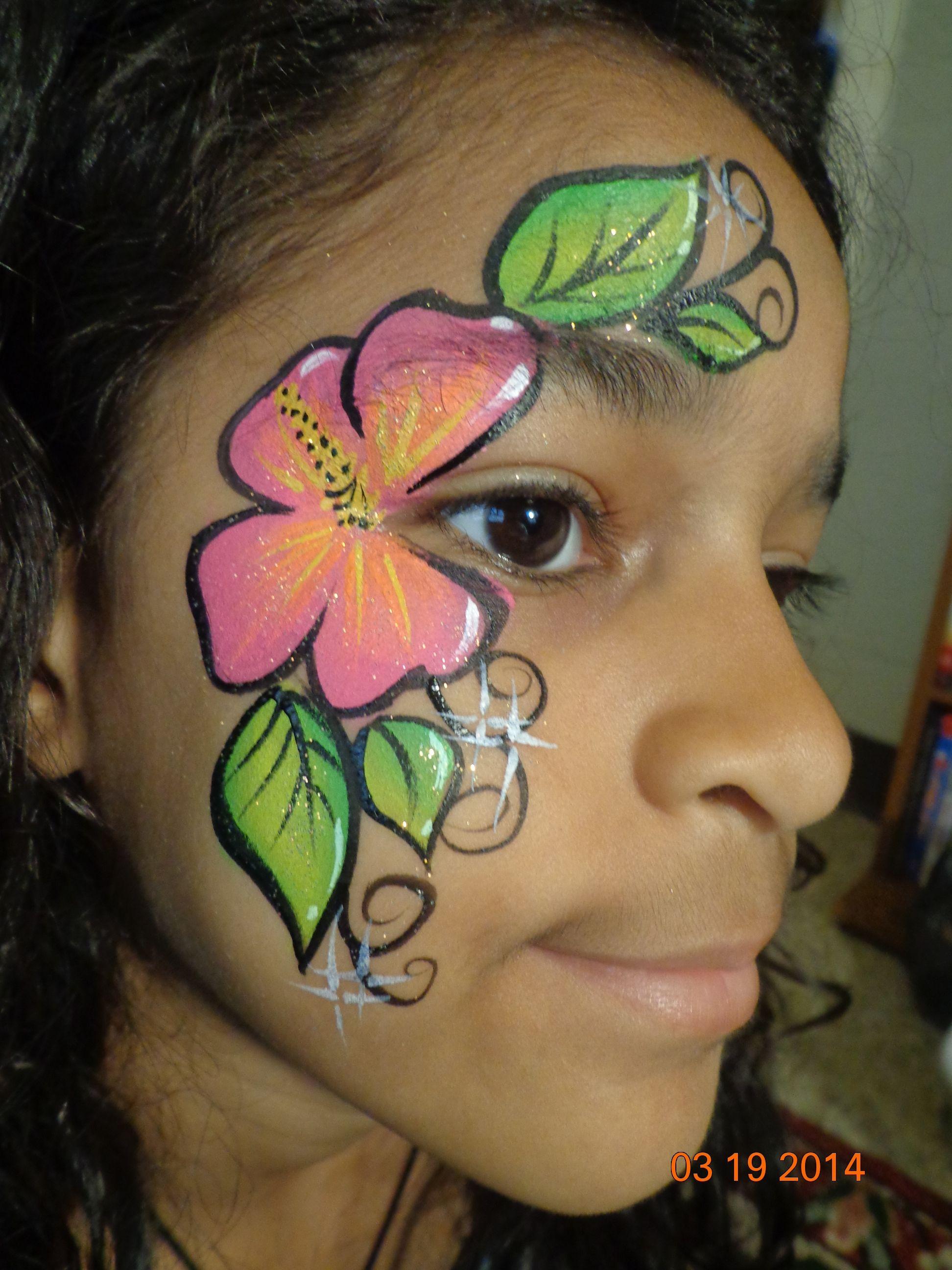 Hibiscus Flower face paint design | Face painting flowers ...