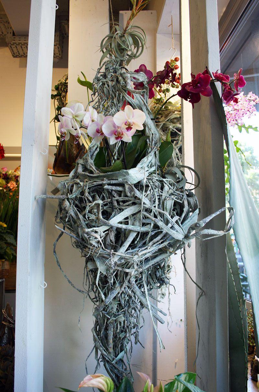 Hängende Wanddeko floral art, hängende deko mit orchidee und holz gearbeitet
