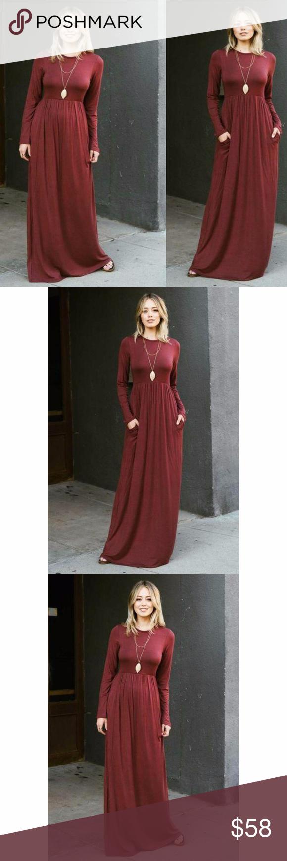 Long sleeve flowy high waist maxi dress boutique boutique dresses