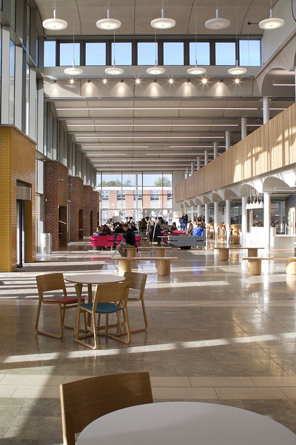 Internal shot of the light and airy Pavilion building at the Nottingham Trent University Clifton Campus.