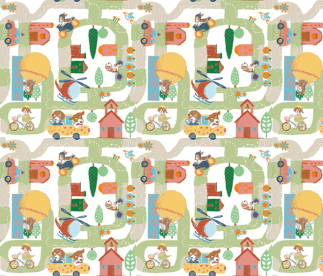 Beagle City fabric by gabmana on Spoonflower - custom fabric