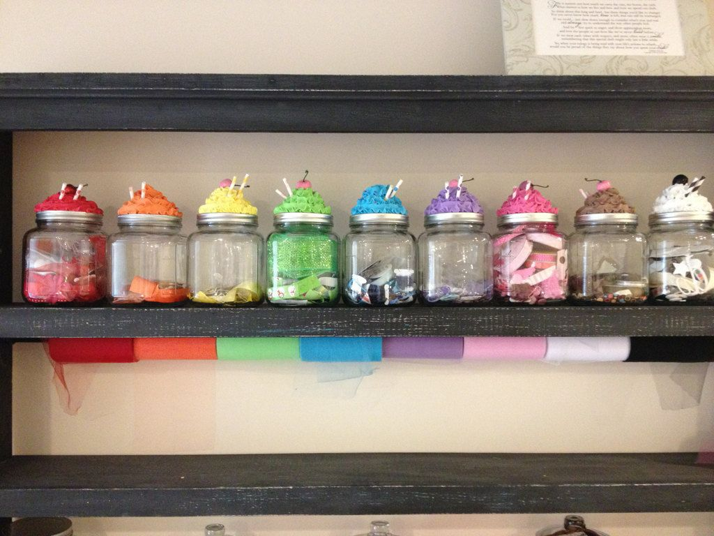 Rainbow Cupcake Cannisters Craft Organization Jar Lids Jar