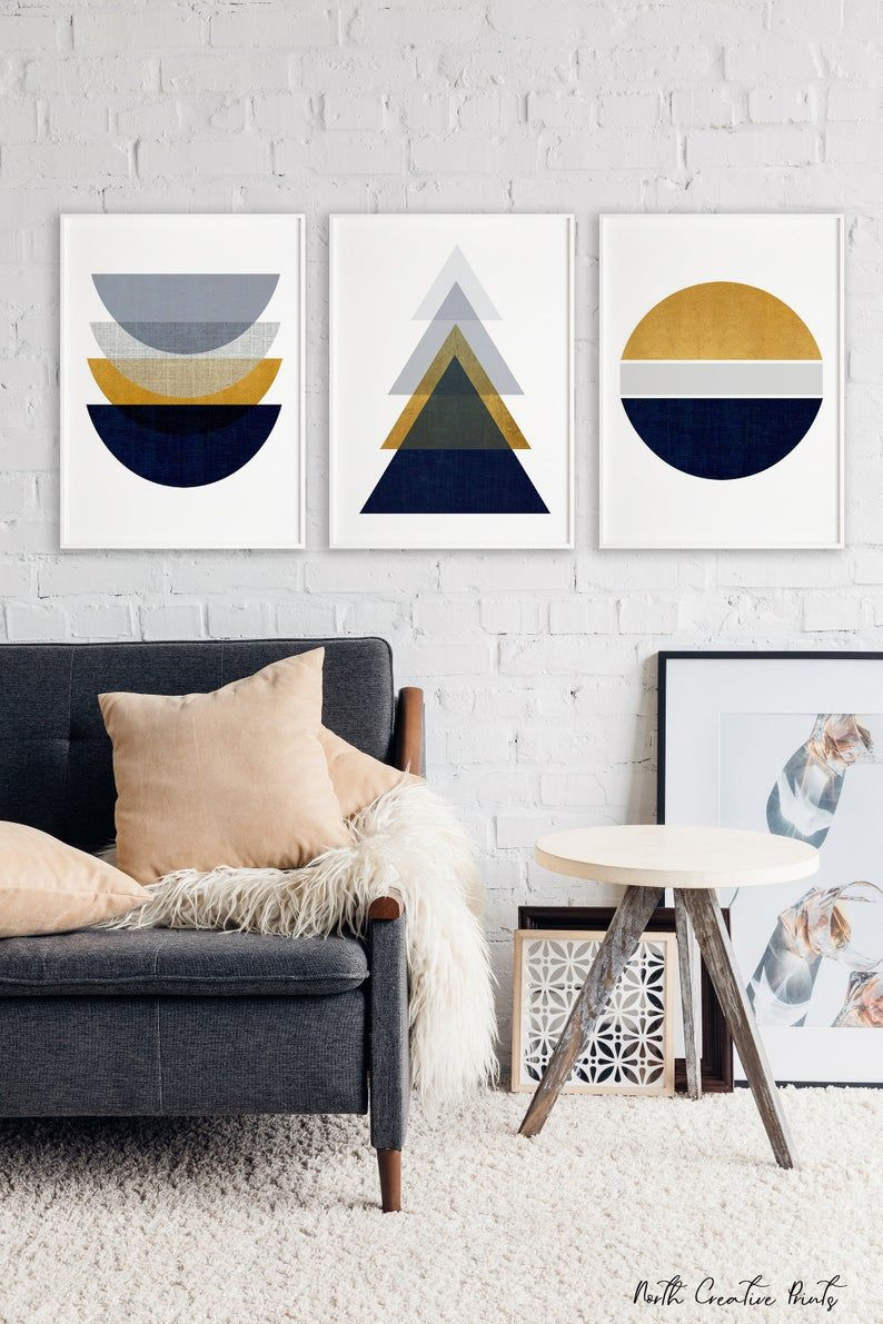 Set Of 3 Scandinavian Prints Geometric Abstract Prints Printable Wall Art Triptych Instant Download Print Set Wall Decor Navy And Gold In 2020 Scandinavian Print Scandinavian Art Printable Scandinavian Wall Art