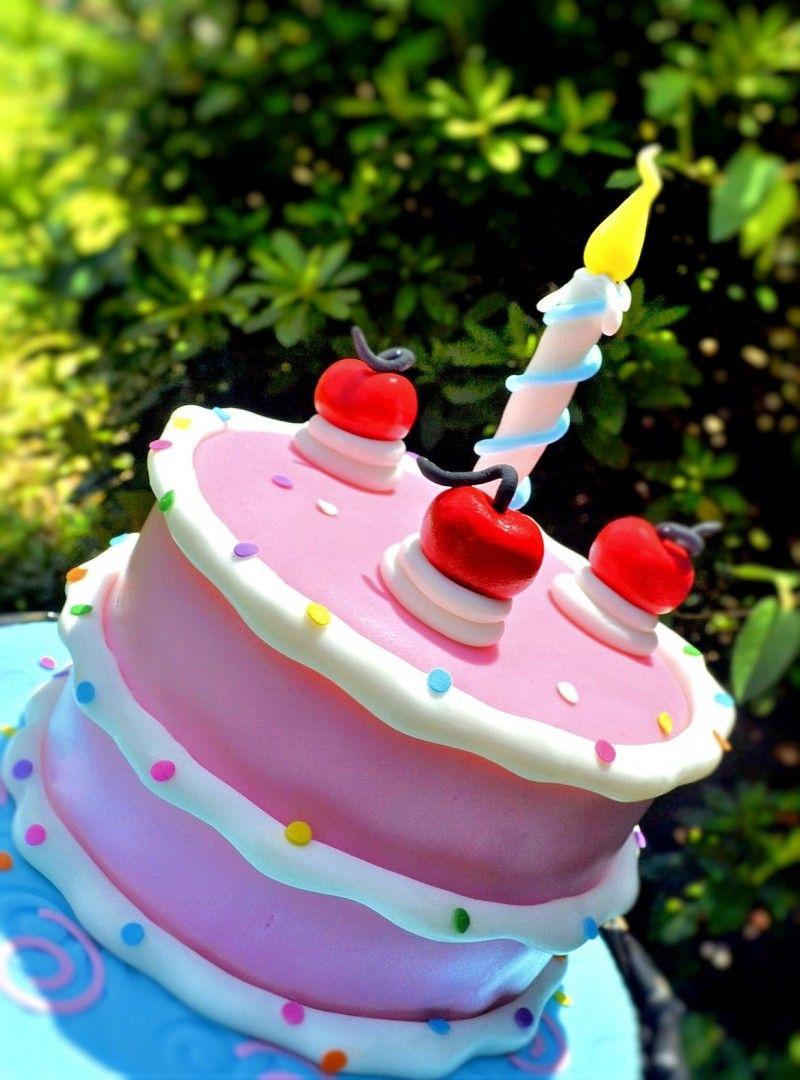 Fondant Cartoon Cake Pink Cake Whimsical Cake Fondant Cherries