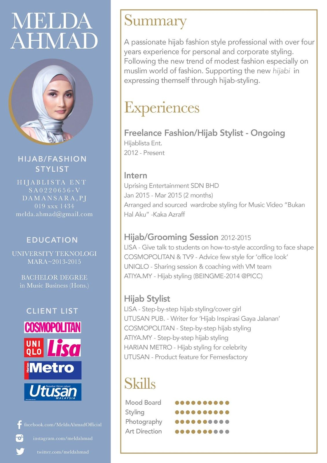 cv resume hijabstylist malaysia Resume design