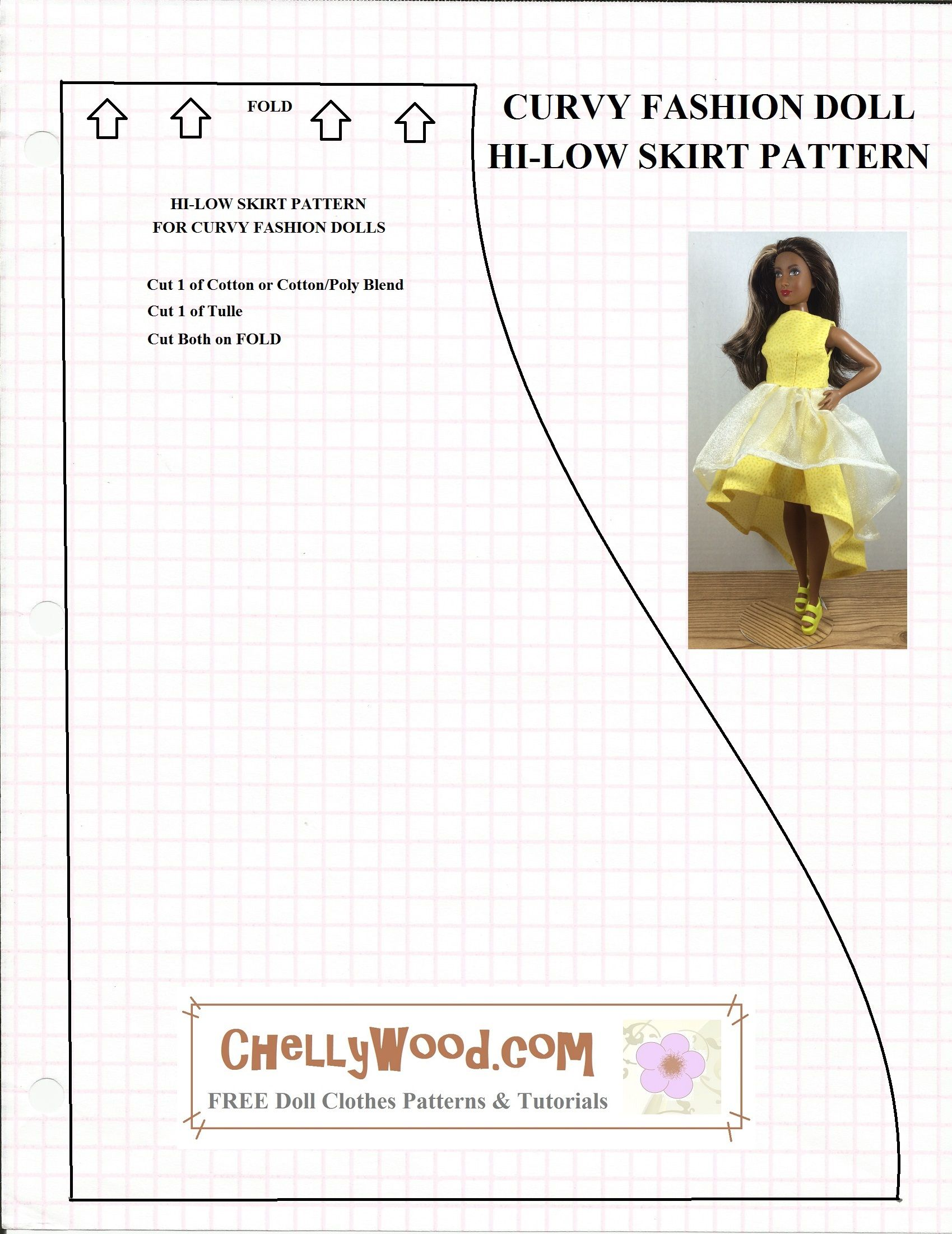 Free printable sewing patterns for doll clothes to fit the new Curvy