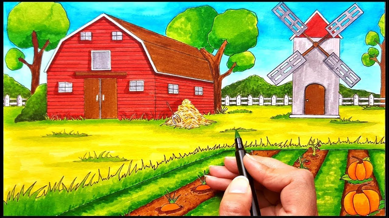 How To Draw In One Point Perspective How To Draw A Farm How To Draw A Barn How To Draw A Tree How To Draw A Simple S Farm Scenery Farm Scene Landscape Drawings
