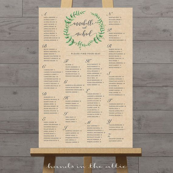 Rustic wedding seating chart kraft portrait alphabetical order find your seat poster printable table plan reception guest list digital by handsintheattic also rh pinterest