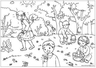 Easter Egg Hunt Colouring Page Pages