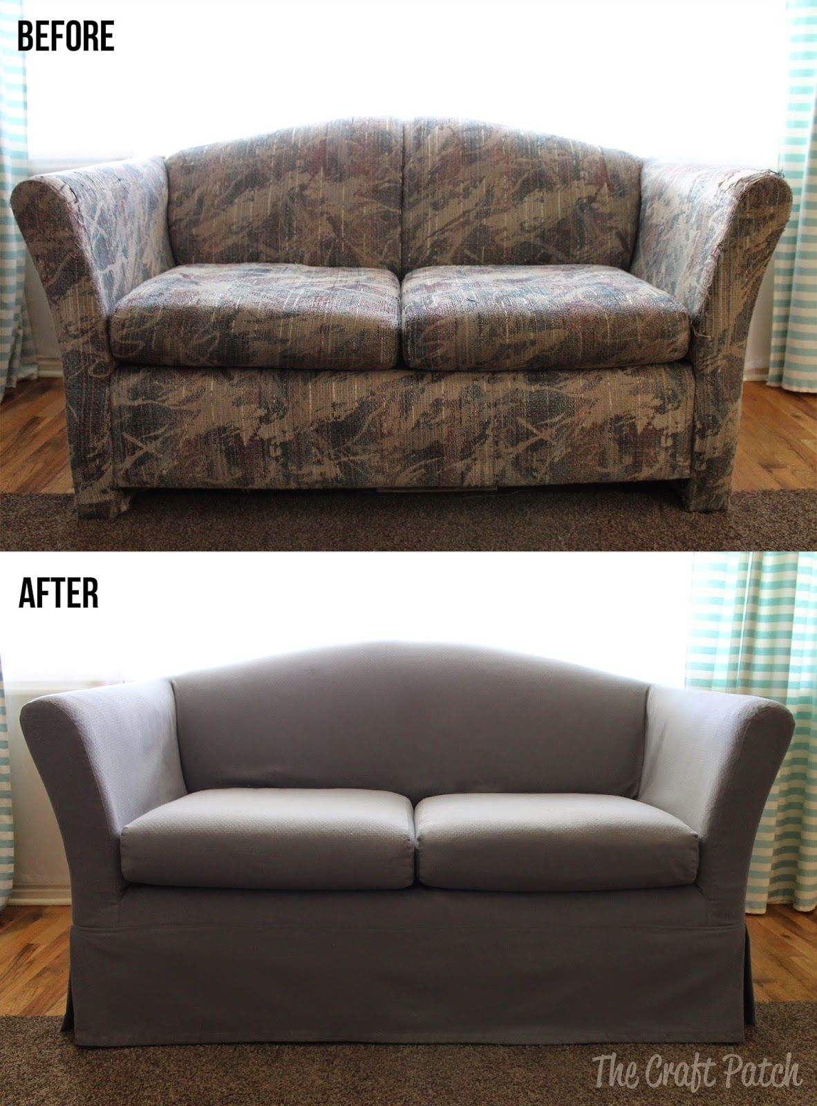 Awesome Couch Makeover With A Custom Slip Cover Sheesh