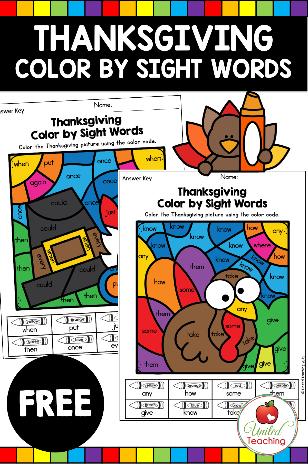 Subscriber Freebie Thanksgiving Color By Sight Words