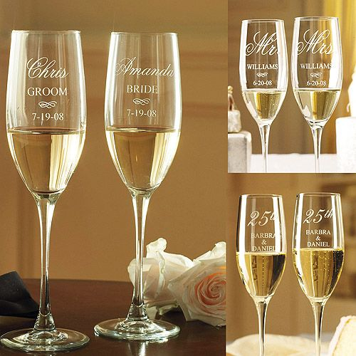 Personalized Engraved Champagne Toasting Glasses Set of 2