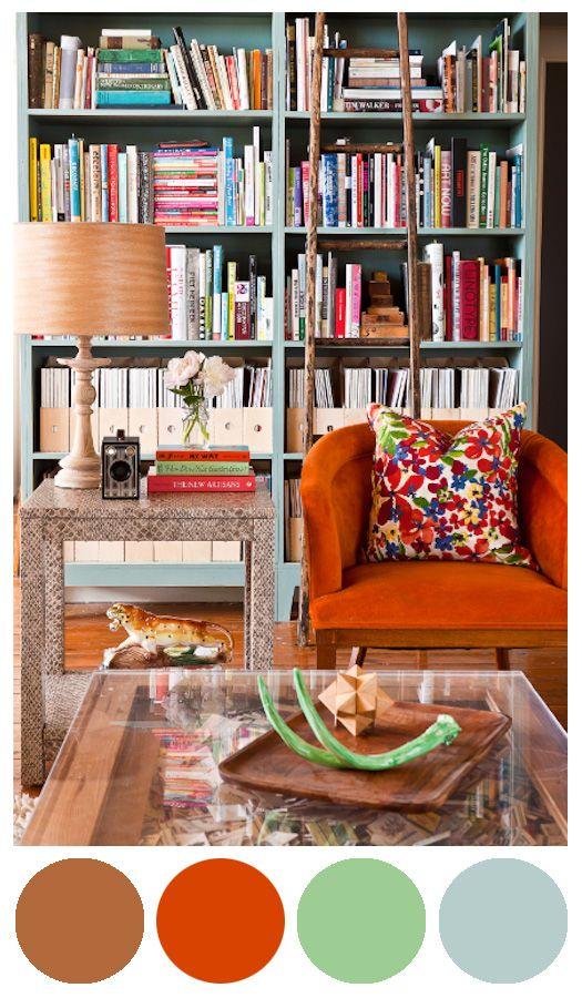 Paleta de cores inspiração - laranja e hortelã