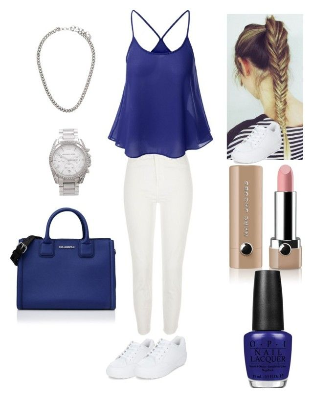 """""""The look summer ☀️"""" by loulou-leilou on Polyvore featuring mode, River Island, Michael Kors, New Look, Marc Jacobs, OPI et Karl Lagerfeld"""