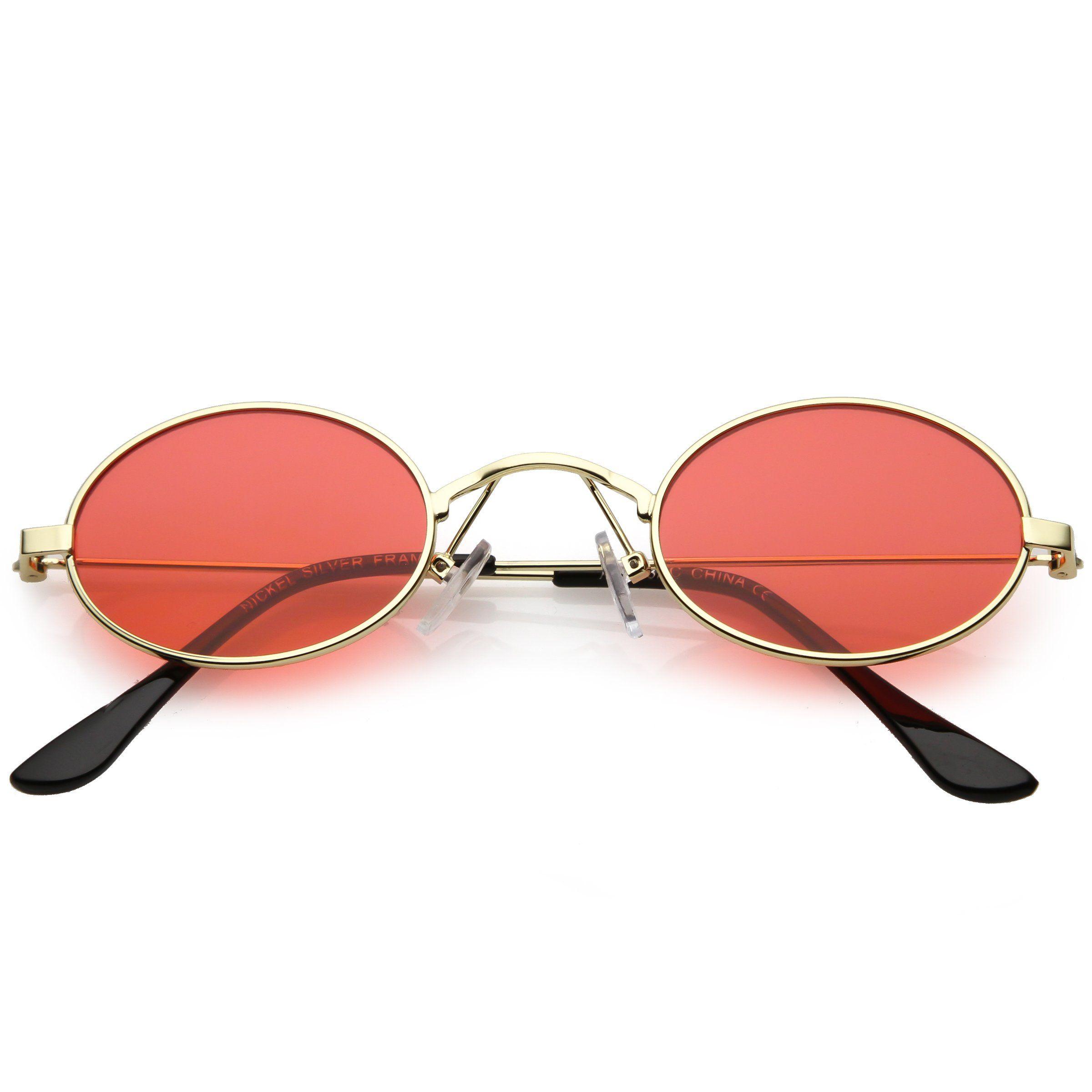 7dfd6bc13c7270 Retro 1990 s Small Oval Color Tone Metal Sunglasses C616 in 2019 ...