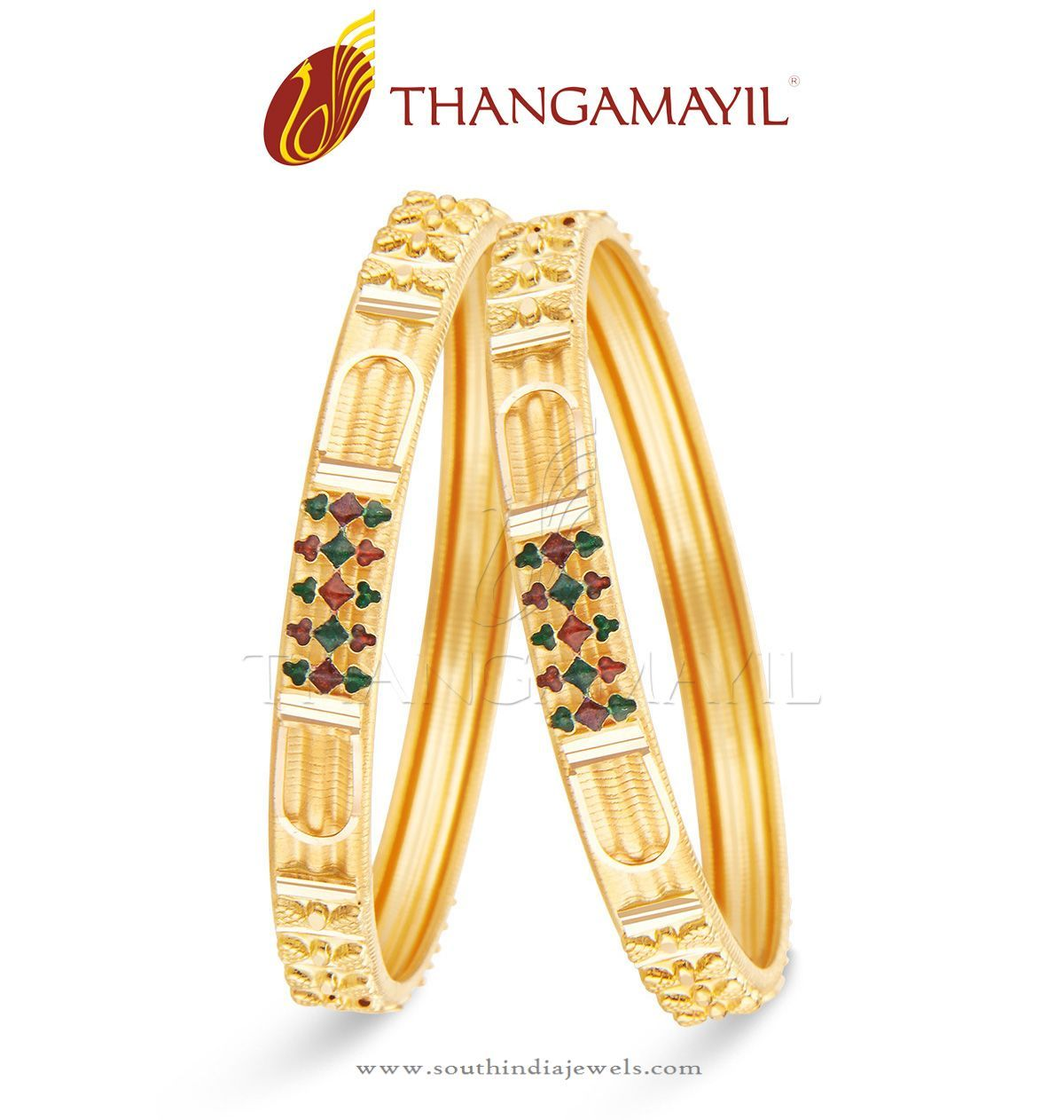 22 Carat Indian Gold Bangle Design | Indian gold bangles, Gold ...