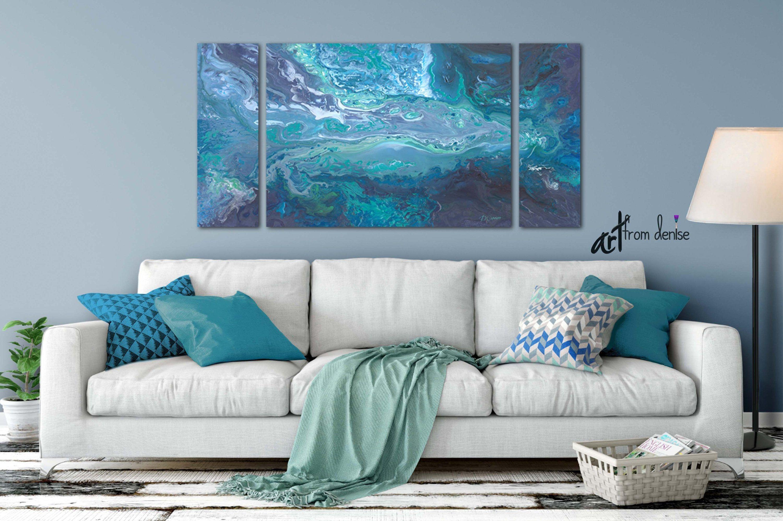 3 piece wall art canvas abstract print set blue teal