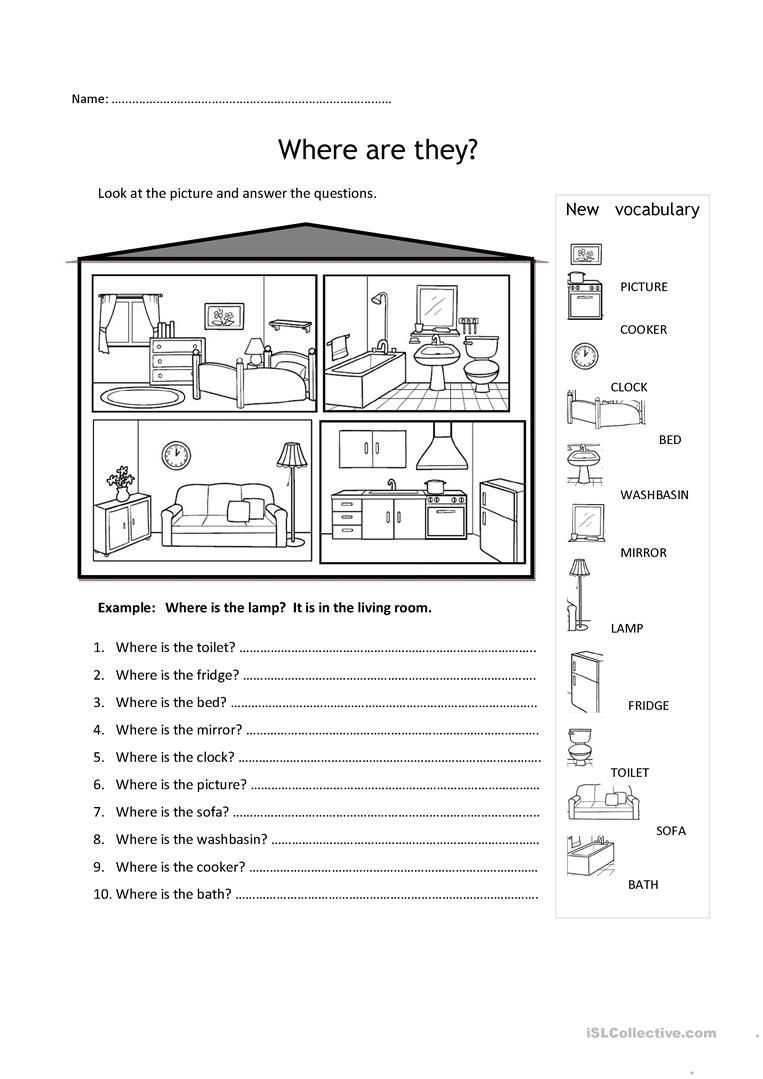 rooms in the house worksheet free esl printable worksheets made by teachers english. Black Bedroom Furniture Sets. Home Design Ideas