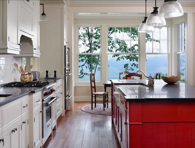 "kitchen design.island paint color: ""benjamin moore heritage red"