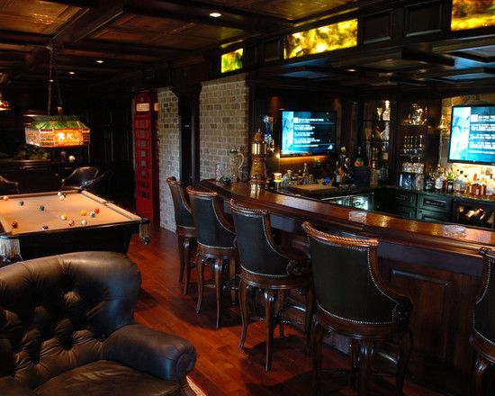 Marvellous Irish Pub Decorating Ideas With Vintage And Classic Touch:  Traditional Basement Pub Irish Bar