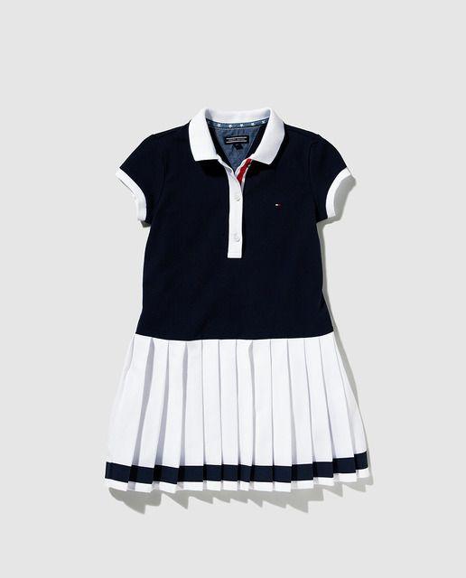 03a447c7e98 Vestido tipo polo de niña Tommy Hilfiger azul marino