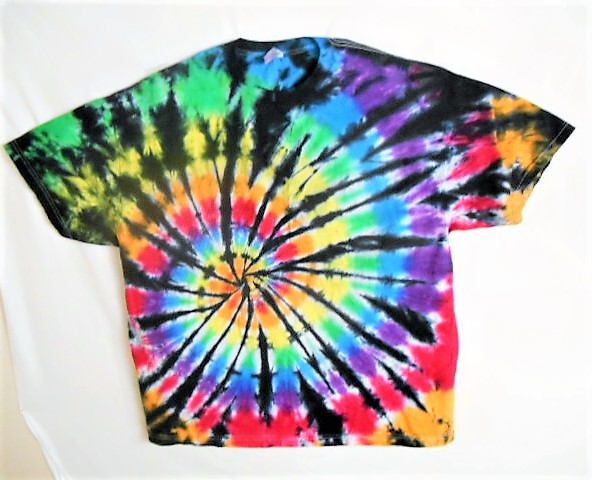 3X Tie Dye shirt// Plus Size// Gay Pride// Rainbow with black// Edgy// Trippy// Psychedelic// Rave clothes// Festival wear// Party//  AXX14 by FarmFreshTieDyeStore on Etsy