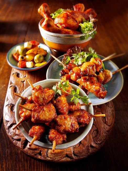 Amazing Oriental Party Buffet Food With Chicken Satay The Clover Download Free Architecture Designs Scobabritishbridgeorg