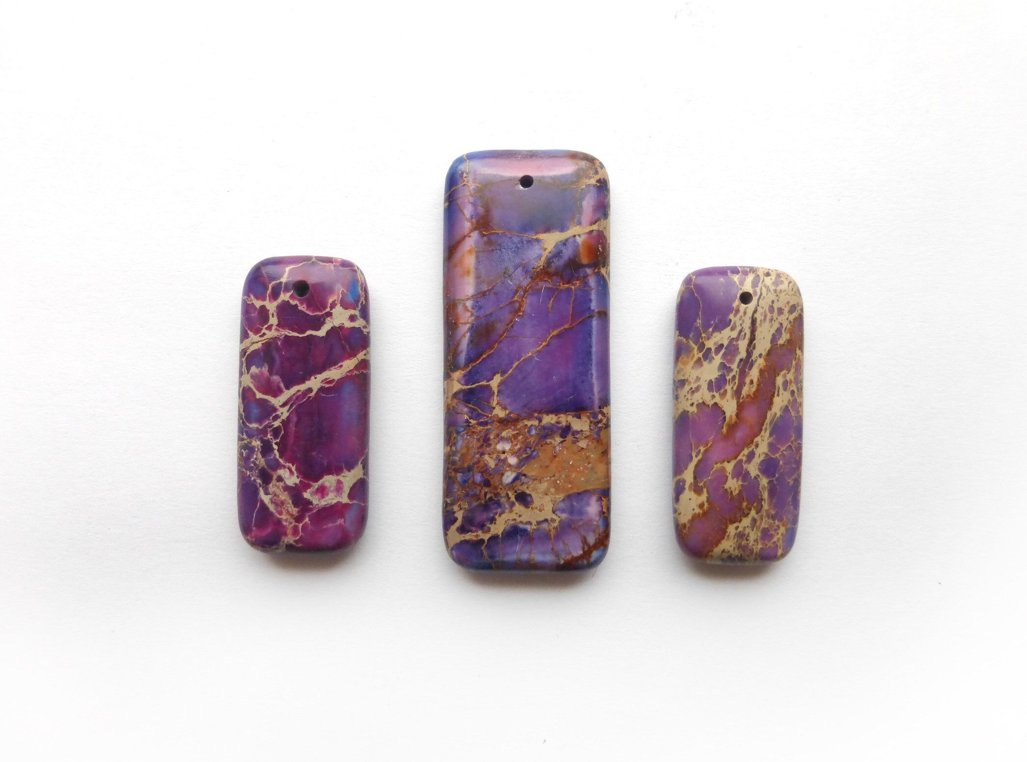 Pcs pendant bead set purple sea sediment jasper rectangle pendant