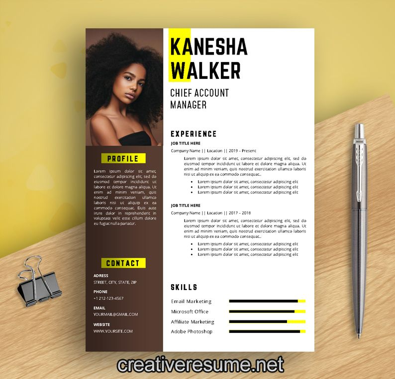 Actress actor resume template with photo creative cv