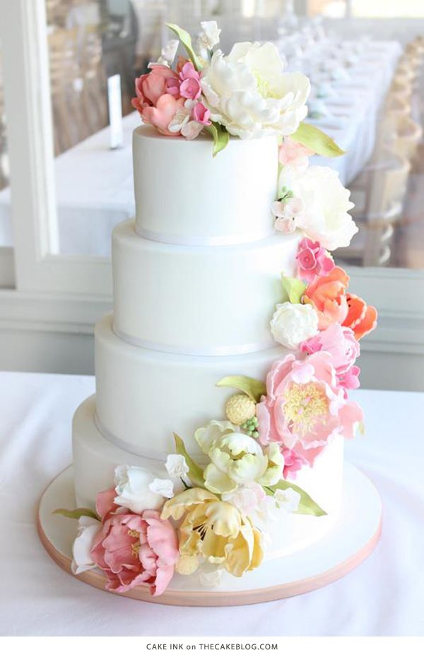 Simple Wedding Cake With Fresh Flowers Or Could Be Replaced Sugar