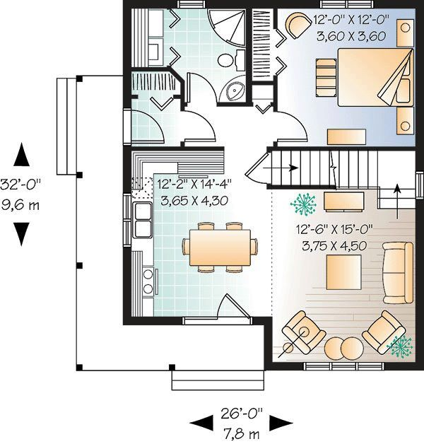 Floor Plan for Small 1200 sf House with 3 Bedrooms. Blueprint of a 3 bedroom home