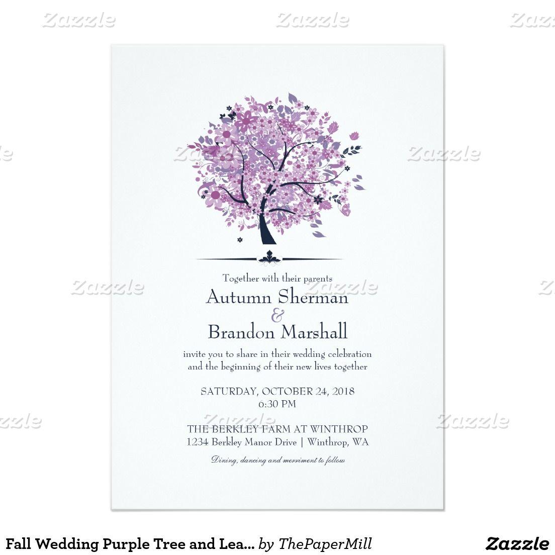 Wedding decorations purple october 2018 Fall Wedding Purple Tree and Leaves x Paper Invitation Card