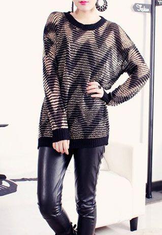 [grls76000086]European Style Black Loose Fitting Stripe Print Knit Sweatshirt