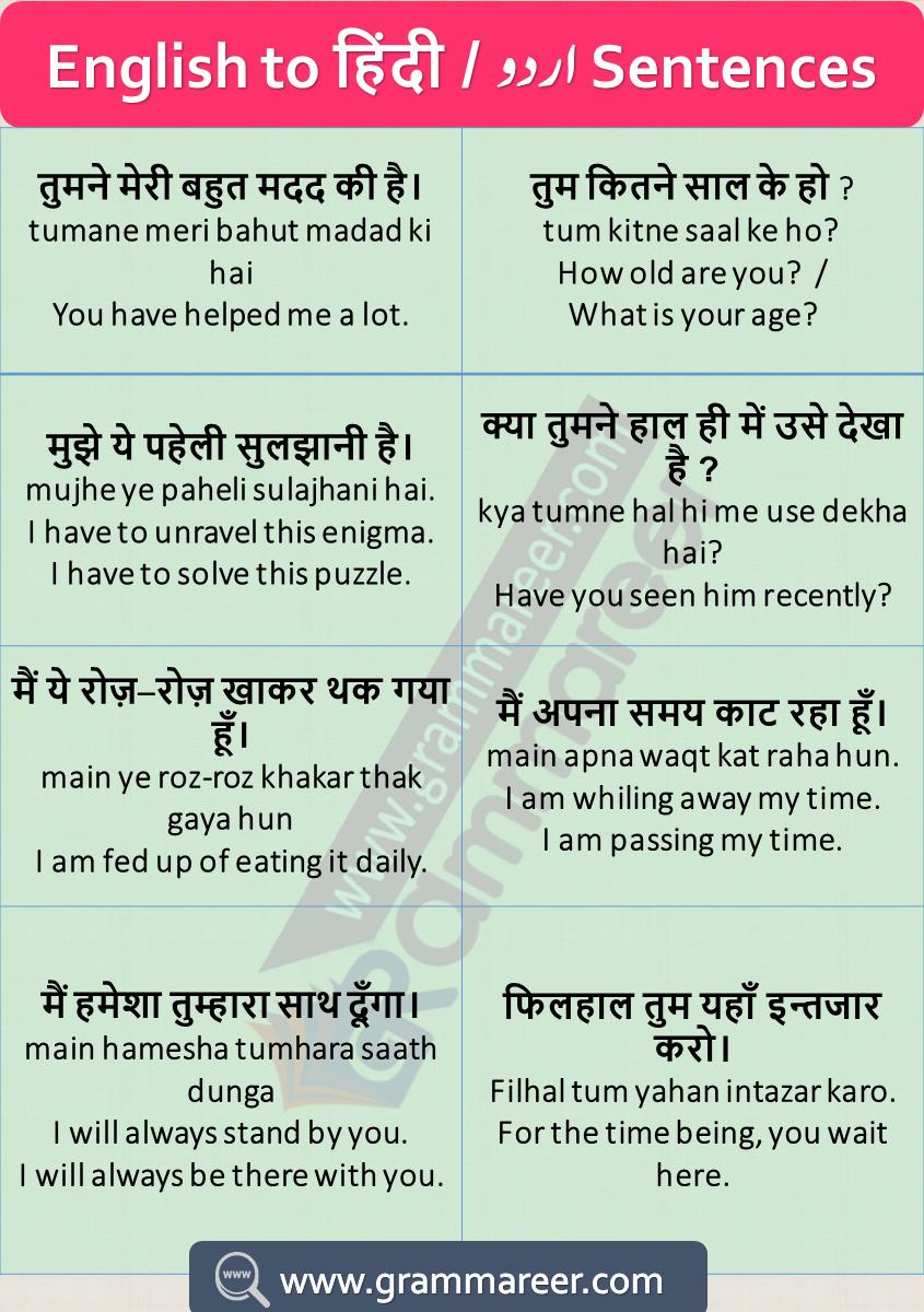 English Sentences With Hindi Translation For Daily Used With Pdf 500 English Phrase English Sentences Basic English Sentences English Vocabulary Words Learning [ 1200 x 845 Pixel ]