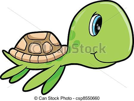 vector clipart of cute happy summer sea turtle animal vector rh pinterest com  cute turtle clip art free