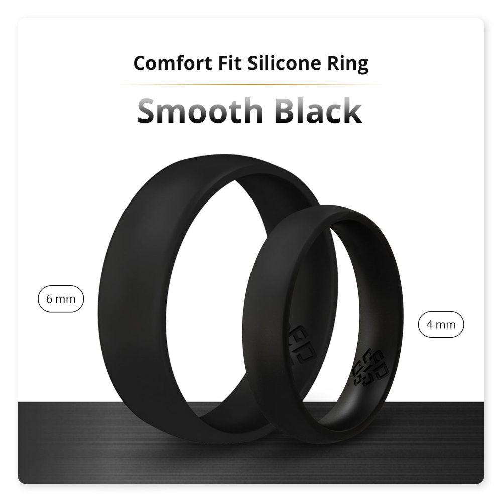 Silicone Ring Man Woman True Comfort Fit in Smooth Black