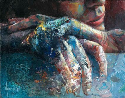 """David Agenjo is a self-taught artist. He was born in Madrid in 1977 and now lives in London.    He is heavily influenced by color and texture and combines this in """"unexpected"""" ways on his palette. He is intrigued by almost accidental ways of establishing a textural or color field, so he started incorporating and combining palette works into his actual paintings."""