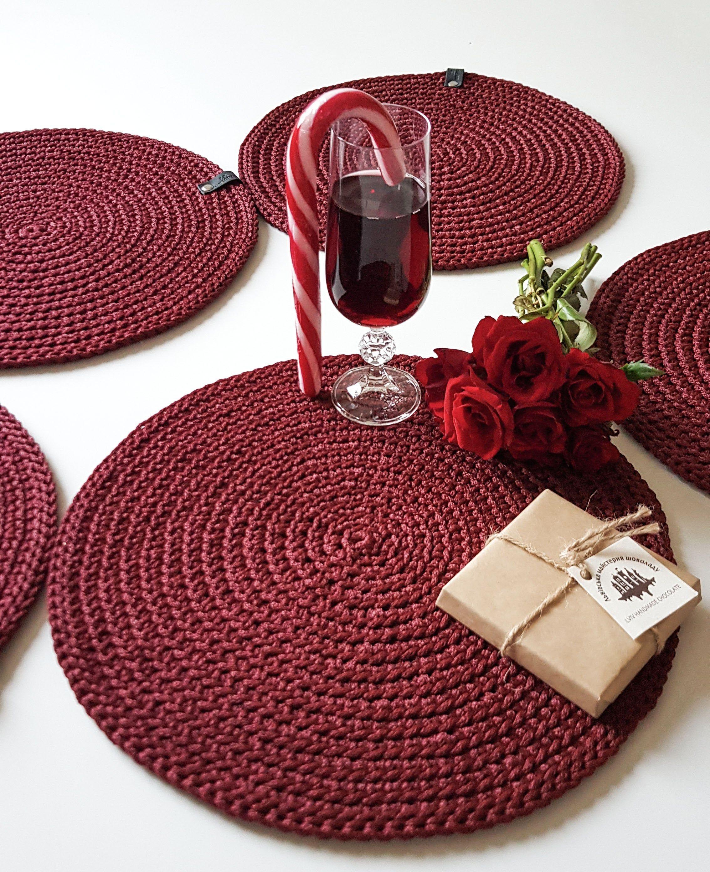 Jute placemats Crochet decor Handmade crochet jute placemat and coaster Dinner placemats Table decor Placemats Rustic home decor