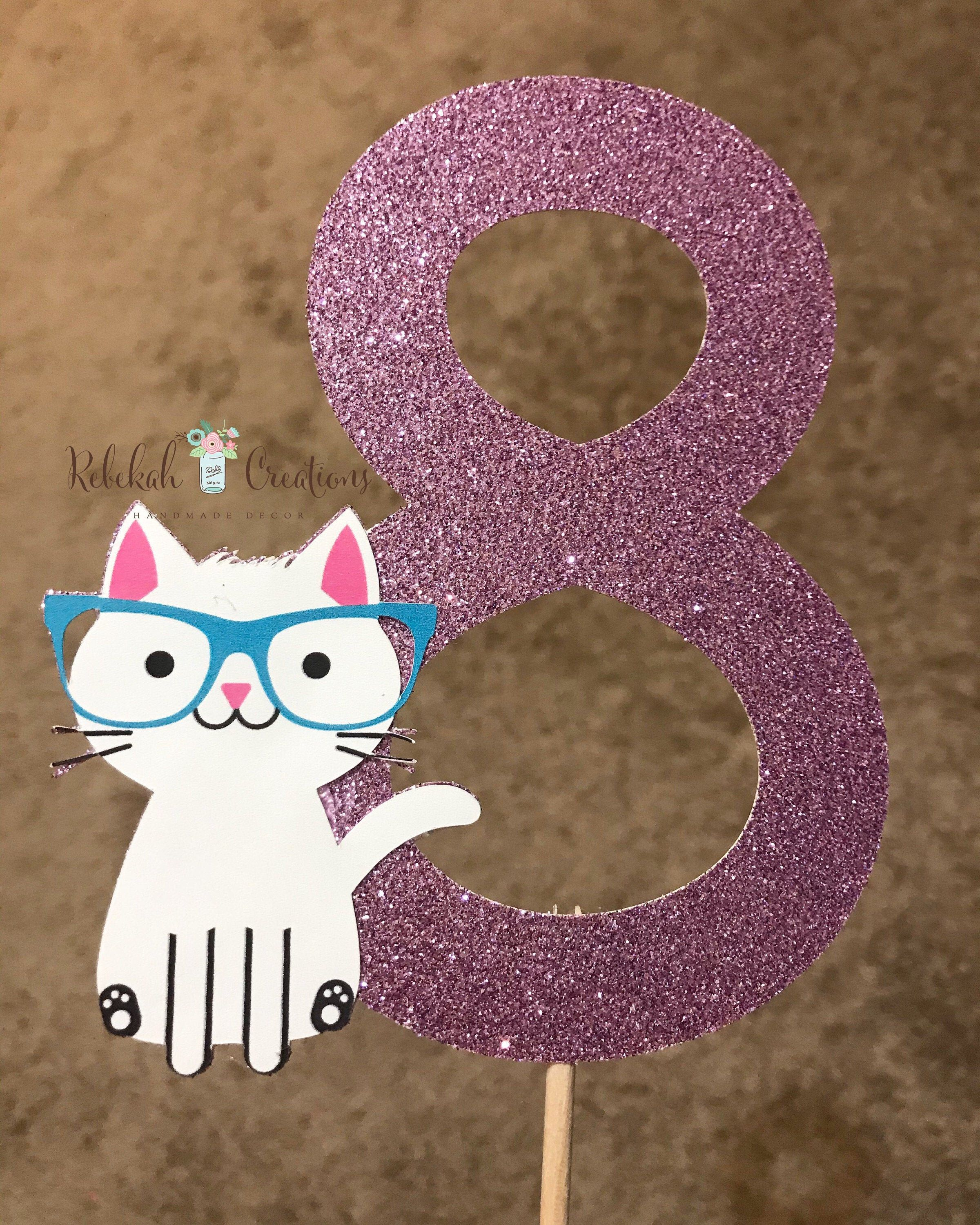 Cat birthday cake topper cat cake topper purrfect
