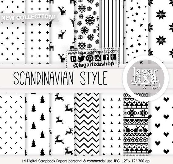Black White Scandinavian Nordic Christmas Digital By Lagartixashop Digital Paper Nordic Christmas Black And White Tree