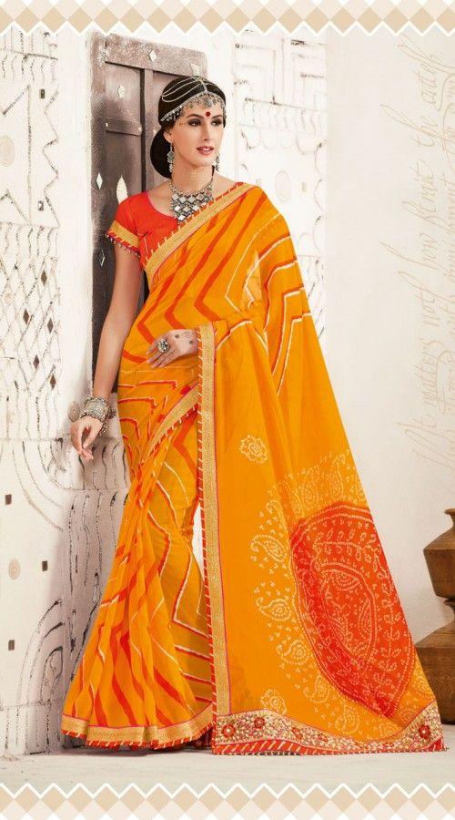 3028e0ae2a235 Dazzling Turmeric Yellow Bandhej Print Haldi Ceremony Saree ES361119  Fantastic turmeric yellow georgette border saree which is beautifully made  with zari